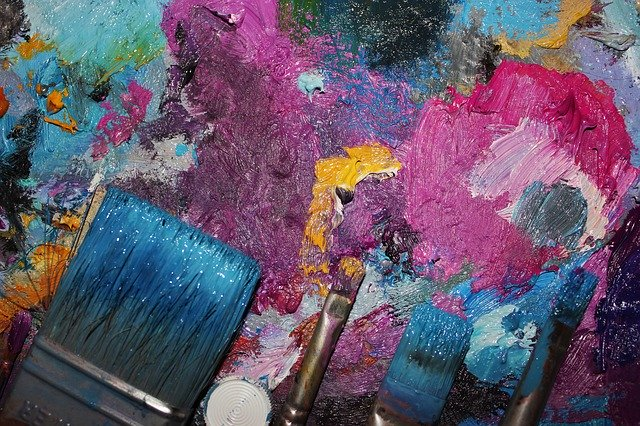 olejové barvy, štětec, paleta
